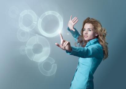 Woman Using Virtual Interface
