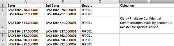 CSV Export from Everlaw with fields and objection.